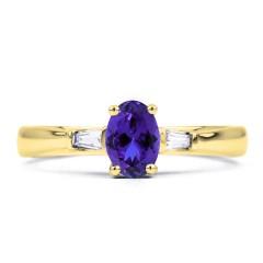18ct Yellow Gold Tanzanite & Diamond Gemstone Engagement Ring 0.18ct 2mm image 0