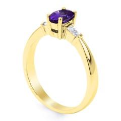 18ct Yellow Gold Tanzanite & Diamond Gemstone Engagement Ring 0.18ct 2mm image 1