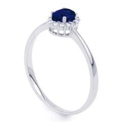 Aya 18ct White Gold Blue Sapphire and Diamond Gemstone Ring image 1