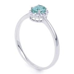 Aya 18ct White Gold Sky Blue Topaz and Diamond Gemstone Ring image 1