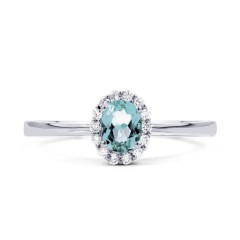 Aya 18ct White Gold Sky Blue Topaz and Diamond Gemstone Ring image 0