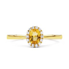 Aya Citrine and Diamond Halo Ring in 18ct Yellow Gold image 0
