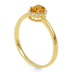 Aya Citrine and Diamond Halo Ring in 18ct Yellow Gold image 1