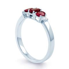 18ct White Gold Ruby & Diamond Trilogy Ring 0.04ct 2.5mm image 1