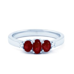 18ct White Gold Ruby & Diamond Trilogy Ring 0.04ct 2.5mm image 0
