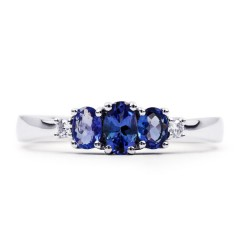 18ct White Gold Tanzanite and Diamond 3 Stone Ring image 1