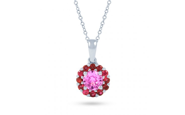 Pink Sapphire and Ruby Halo Pendant product image 2
