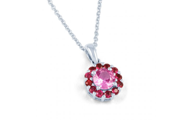 Pink Sapphire and Ruby Halo Pendant product image 1