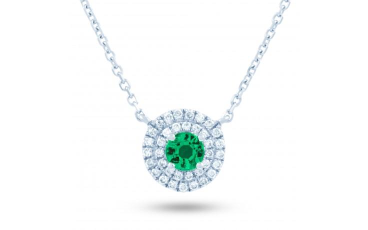 Double Halo Emerald and Diamond Pendant product image 2