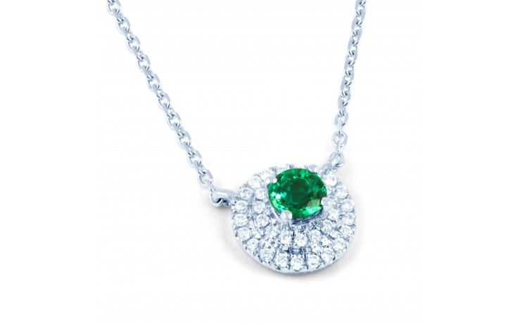 Double Halo Emerald and Diamond Pendant product image 1