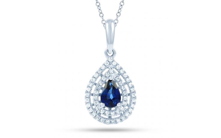 Blue Sapphire Double Halo Pendant product image 2