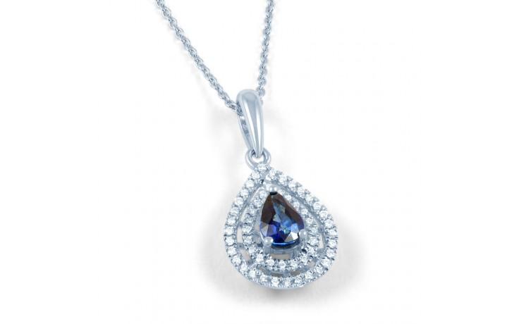 Blue Sapphire Double Halo Pendant product image 1