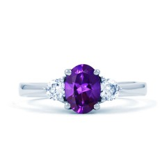 Paragon 18ct White Gold Amethyst and Diamond Engagement Ring image 0