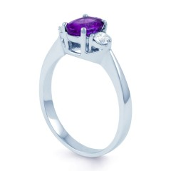 Paragon 18ct White Gold Amethyst and Diamond Engagement Ring image 1