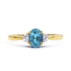 Paragon Natural Aquamarine and Diamond Engagement Ring in 18ct Yellow Gold image 0