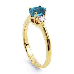 Paragon Natural Aquamarine and Diamond Engagement Ring in 18ct Yellow Gold image 1