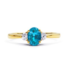 Paragon Natural Blue Topaz and Diamond Engagement Ring in 18ct Yellow Gold image 0