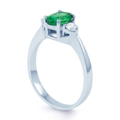 Paragon 18ct White Gold Emerald and Diamond Engagement Ring image 1