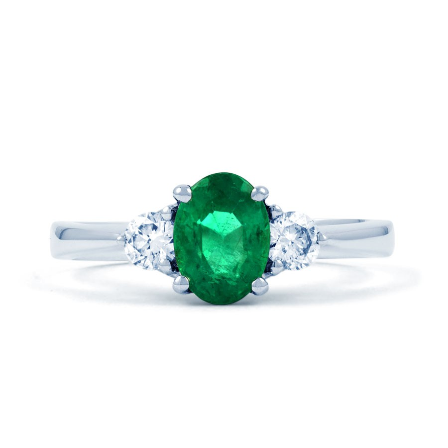 paragon 18ct white gold emerald and diamond engagement