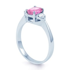 Paragon 18ct White Gold Pink Sapphire and Diamond Engagement Ring image 1