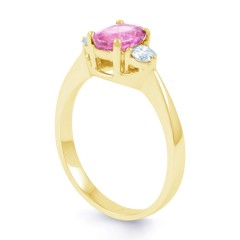 Paragon Natural Pink Sapphire and Diamond Engagement Ring in 18ct Yellow Gold image 1