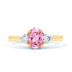 Paragon Natural Pink Sapphire and Diamond Engagement Ring in 18ct Yellow Gold image 0