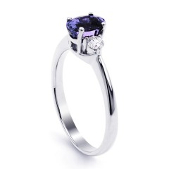 Paragon 18ct White Gold Tanzanite and Diamond Engagement Ring image 1