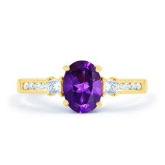 Arya Amethyst and Diamond Engagement Ring in 18ct Gold Milgrain Shank image 0