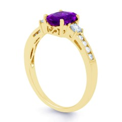 Arya Amethyst and Diamond Engagement Ring in 18ct Gold Milgrain Shank image 1