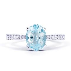 Arya 18ct White Gold Single Stone Aquamarine Gemstone Ring image 0