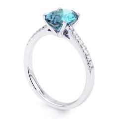 Arya 18ct White Gold Single Stone Aquamarine Gemstone Ring image 1