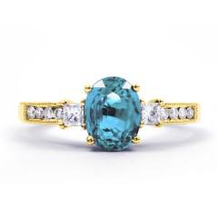 Arya Aquamarine and Diamond Engagement Ring in 18ct Gold Milgrain Shank image 0