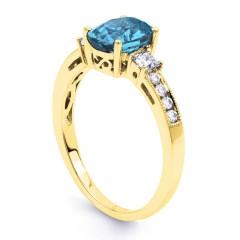 Arya Aquamarine and Diamond Engagement Ring in 18ct Gold Milgrain Shank image 1