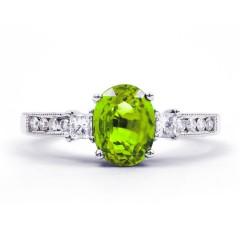 Arya 18ct White Gold Peridot and Diamond Engagement Ring image 0