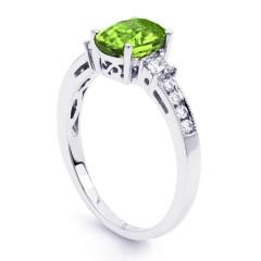 Arya 18ct White Gold Peridot and Diamond Engagement Ring image 1
