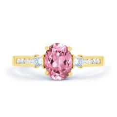 Arya Pink Sapphire and Diamond Engagement Ring in 18ct Gold Milgrain Shank image 0