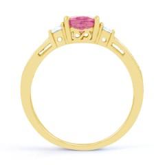 Arya Pink Sapphire and Diamond Engagement Ring in 18ct Gold Milgrain Shank image 1