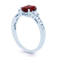 Arya Ruby Engagement Ring with 0.2ct Diamond in 18ct White Gold image 1