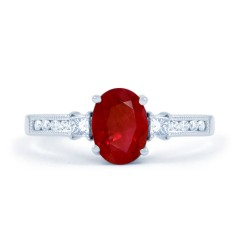 Arya Ruby Engagement Ring with 0.2ct Diamond in 18ct White Gold image 0