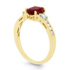 Arya Ruby and Diamond Engagement Ring in 18ct Gold Milgrain Shank image 1