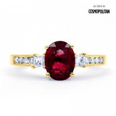 Arya Ruby and Diamond Engagement Ring in 18ct Gold Milgrain Shank image 0