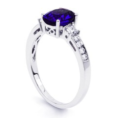 Arya 18ct White Gold Tanzanite and Diamond Engagement Ring image 1
