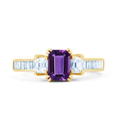Devi Natural Amethyst and Diamond Engagement Ring in 18ct Yellow Gold image 0