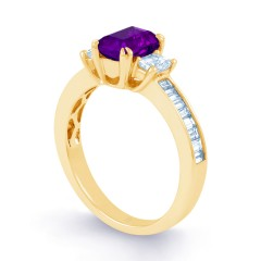 Devi Natural Amethyst and Diamond Engagement Ring in 18ct Yellow Gold image 1