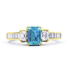Devi Natural Aquamarine and Diamond Engagement Ring in 18ct Yellow Gold image 0