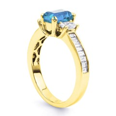 Devi Natural Aquamarine and Diamond Engagement Ring in 18ct Yellow Gold image 1
