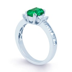 Devi 18ct White Gold Emerald and Diamond Engagement Ring image 1