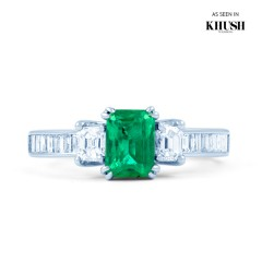 Devi 18ct White Gold Emerald and Diamond Engagement Ring image 0