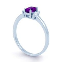 Rani 18ct White Gold Amethyst and Diamond Engagement Ring image 1