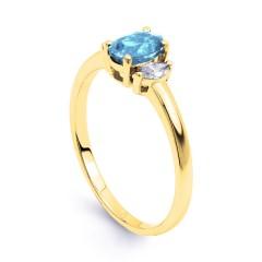 Rani Natural Aquamarine and Marquise Diamond Engagement Ring image 1